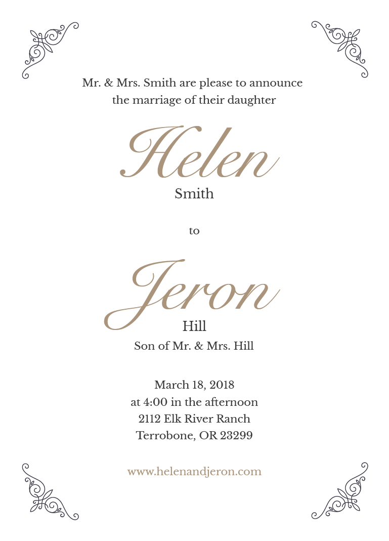 simply 5x7 wedding invite prints of love