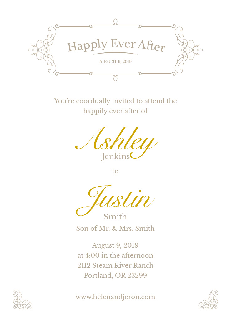 Wedding Invitation Printing.Elegance Wedding Invite 5x7 Flat Card